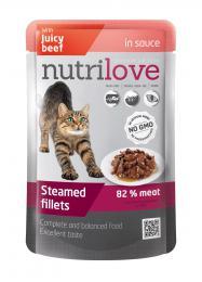 NUTRILOVE 85g Juicy Beef in Sauce - dušené filetky se š�avnatým hovìzím v omáèce