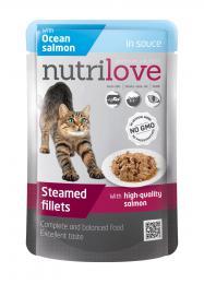 NUTRILOVE 85g Ocean Salmon in Sauce - dušené filetky s lososem v delikátní omáèce