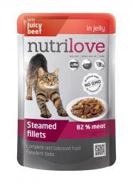 NUTRILOVE 85g Juicy Beef in Jelly - dušené filetky se š�avnatým hovìzím v želé